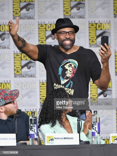Mara Brock Akil walks onstage at the 'Black Lightning' Special Video Presentation and QA during ComicCon International 2018 at San Diego Convention...