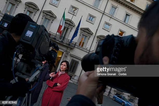 Mara Carfagna spokesman of Forza Italia during an interview in front of Palazzo Chigi on the day of the resignation of the Prime Minister on December...