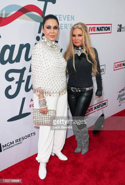 María Conchita Alonso and Suzan Hughes arrive at Steven Tyler's Third Annual Grammy Awards Viewing Party to benefit Janie's Fund presented by Live...