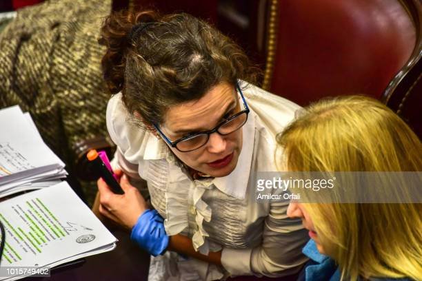 María Cristina del Valle Fiore Viñuales senator for Salta speaks while senators vote for the new abortion law on August 8 2018 in Buenos Aires...
