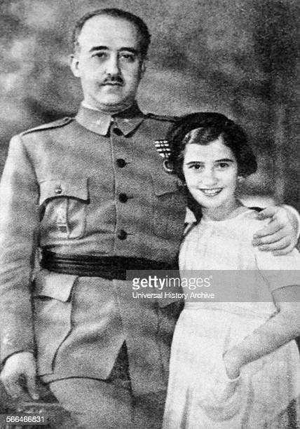 María del Carmen Franco y Polo only child of Spain's dictator General Francisco Franco and his wife Carmen Polo seen with her father during the...