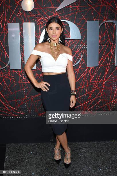 María Fernanda Quiroz poses for photos during the red carpet for 'Quien' magazine's 18th anniversary at Foro Masaryk on August 15 2018 in Mexico City...