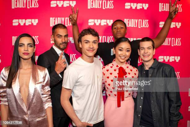 María Gabriela de Faría Michel Duval Benjamin Wadsworth Luke Tennie Lana Condor and Liam James attend the premiere week screening of SYFY's Deadly...