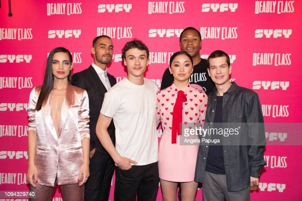 María Gabriela de Faría Michel Duval Benjamin Wadsworth Luke Tennie Lana Condor and Liam James attend the premiere week screening of SYFY's 'Deadly...