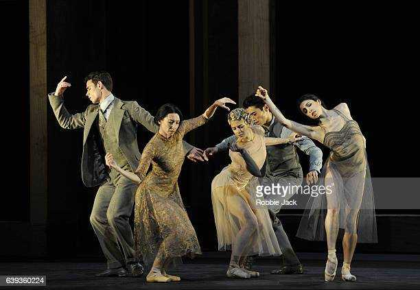 Mara Galeazzi with artists of the company in the Royal Ballet's production of Wayne McGregor's Woolf Works at the Royal Opera House Covent Garden in...