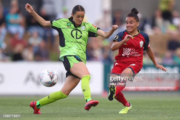 María José Rojas of Adelaide United scores a goal during the round one W-League match between Canberra United and Adelaide United at Viking Park, on...