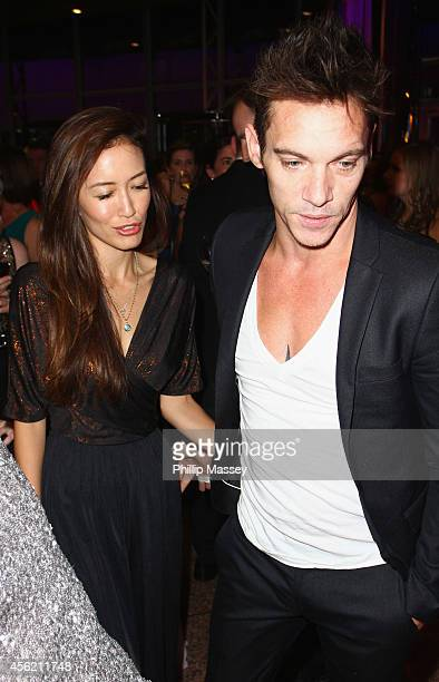 Mara Lane and Jonathan Rhys Myers attend the Barretstown 20th Anniversary Gala Ball at Convention Centre on September 27 2014 in Dublin Ireland