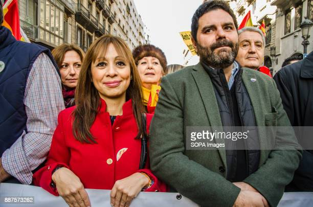 María Magdalena Barceló and Francisco Sierra Lopez aldermen of the city of Barcelona from the Popular Party during the demonstration of Spanish...