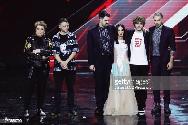 Mara Maionchi Anastasio Bowland and Lodo Guenzi attend X Factor tv show at Mediolanum Forum on December 13 2018 in Milan Italy
