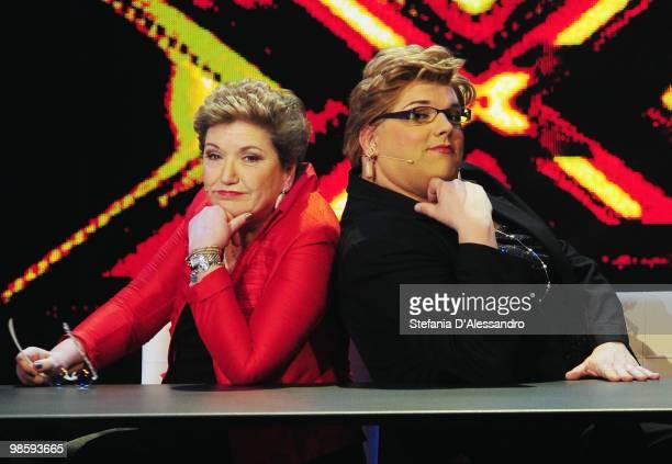 R Mara Maionchi and Aldo Piazza attend 'Chiambretti Night' Italian Tv Show held at Mediaset Studios on April 21 2010 in Milan Italy