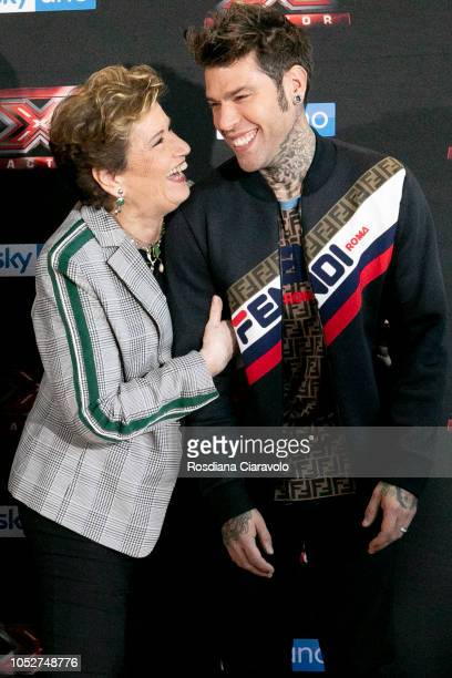 Mara Maionchi and Fedez attend X Factor 2018 photocall at Teatro Linear Ciak on October 22 2018 in Milan Italy