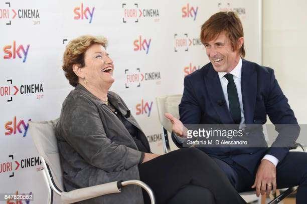 Mara Maionchi and Francesco Castelnuovo attend FuoriCinema on September 16 2017 in Milan Italy