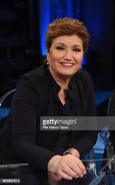 Mara Maionchi attends 'Che Tempo Che Fa' tv show on April 2 2017 in Milan Italy