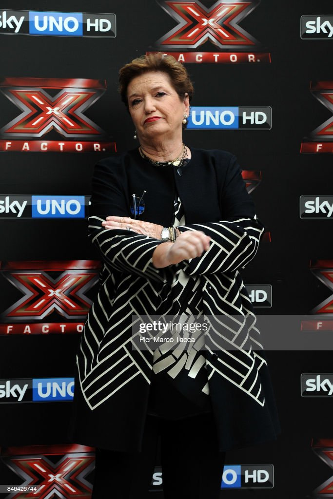 Mara Maionchi attends X Factor 11 Photocall on September 13, 2017 in Milan, Italy.