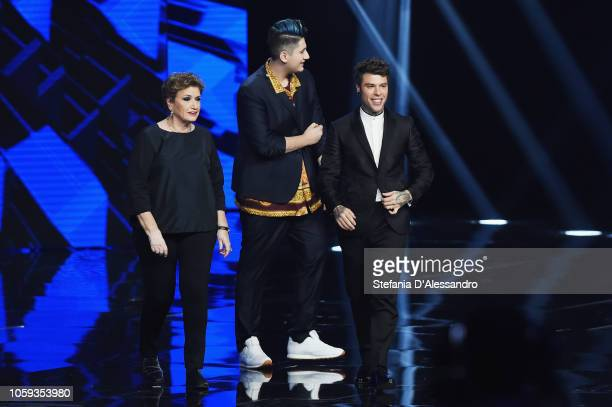 Mara Maionchi Emanuele Bertelli and Fedez attend X Factor tv show at Teatro Linear Ciak on November 8 2018 in Milan Italy