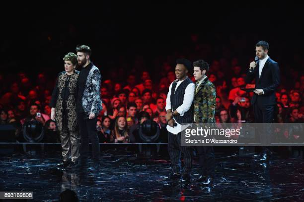 Mara Maionchi Lorenzo Licitra Samuel Storm Fedez and Alessandro Cattelan attend the X Factor 11 finale on December 14 2017 in Milan Italy