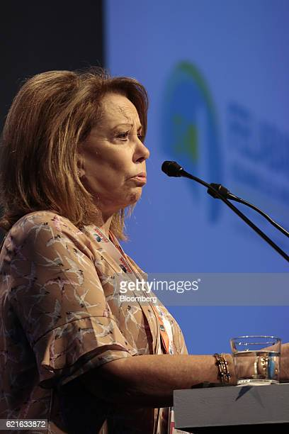 Mara Mercedes Cullar president of the Federation of Latin American Banks speaks during the 50th Anniversary FELEBAN Annual Assembly in Buenos Aires...