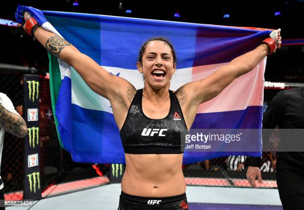 Mara Romero Borella of Italy celebrates after her submission victory over Kalindra Faria of Brazil in their women's flyweight bout during the UFC 216...
