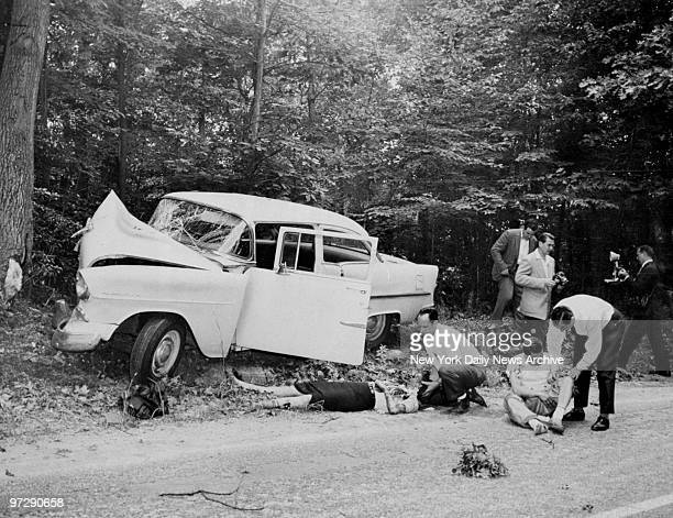 Mara Scherbatoff correspondent for a Paris picture magazine and Ira Slade lie critically injured after crashing into a tree while pursuing Marilyn...