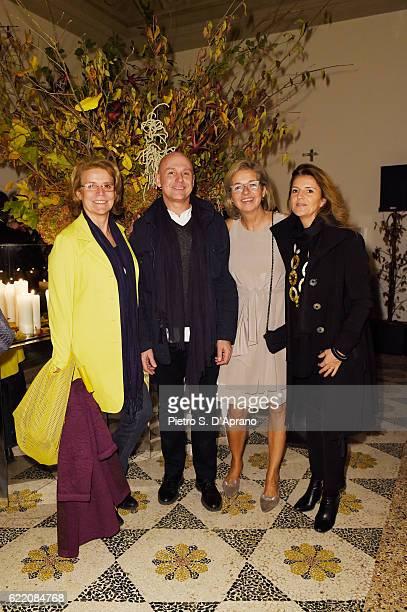 Mara Servetto Lodovico Migliore Inga Griese and Fiorella Villa attend the ICON 10 anniversary cocktail canapes party at Palazzo Cagnola on November 9...