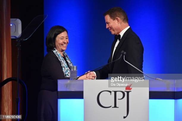 María Teresa Ronderos and Shepard Smith onstage at the Committee to Protect Journalists' 29th Annual International Press Freedom Awards on November...