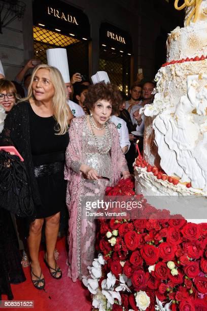 Mara Venier and actress Gina Lollobrigida attends Gina Lollobrigida Birthday Celebrations In Rome on July 4 2017 in Rome Italy