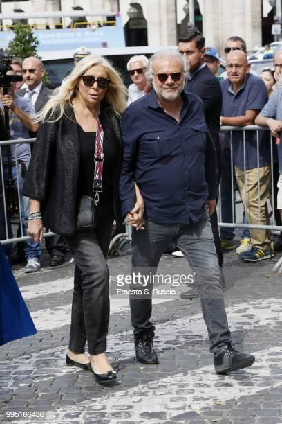 Mara Venier and Jerry Cala attend the funeral for Carlo Vanzina at Santa Maria degli Angeli on July 10 2018 in Rome Italy