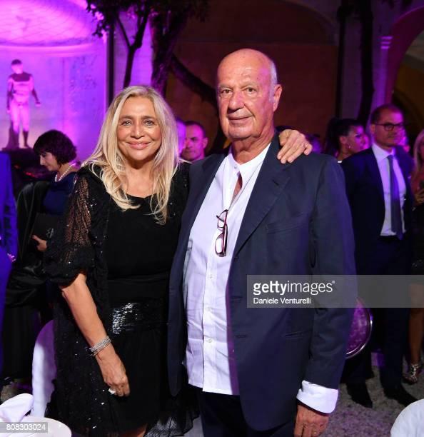 Mara Venier and Nicola Carraro attend Gina Lollobrigida Birthday Celebrations In Rome on July 4 2017 in Rome Italy