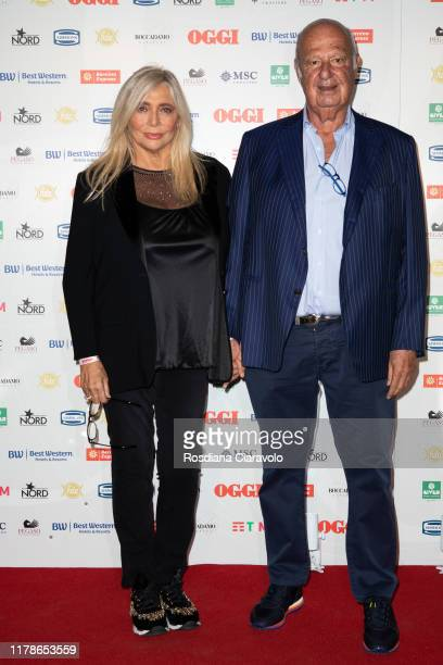 Mara Venier and Nicola Carraro attend the celebrations of the 80 years of the Oggi magazine at Hotel Principe di Savoia on October 02 2019 in Milan...