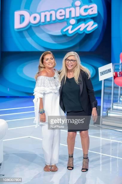 Mara Venier and Romina Power in Domenica In TV show in Rome, Italy, on September 16, 2018.