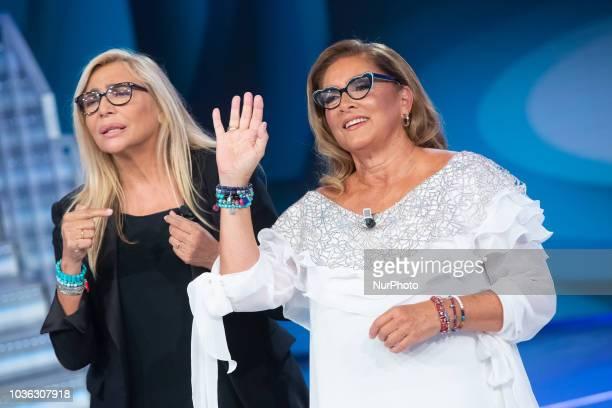 Mara Venier and Romina Power in Domenica In TV show in Rome Italy on September 16 2018