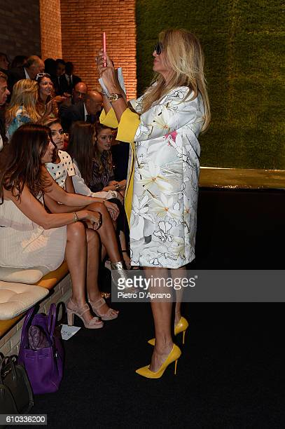 Mara Venier attends the Laura Biagiotti show during Milan Fashion Week Spring/Summer 2017 on September 25 2016 in Milan Italy