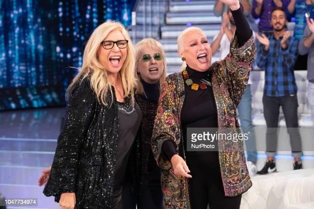 Mara Venier Daniela Goggi and Loretta Goggi attend 'Domenica In' TV show at the Studio RAI Fabrizio Frizzi in Rome Italy on October 7 2018