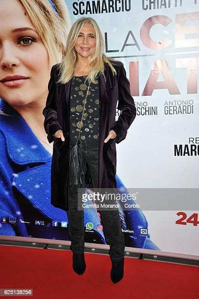 Mara Venier walks a red carpet for 'La Cena Di Natale' on November 22 2016 in Rome Italy