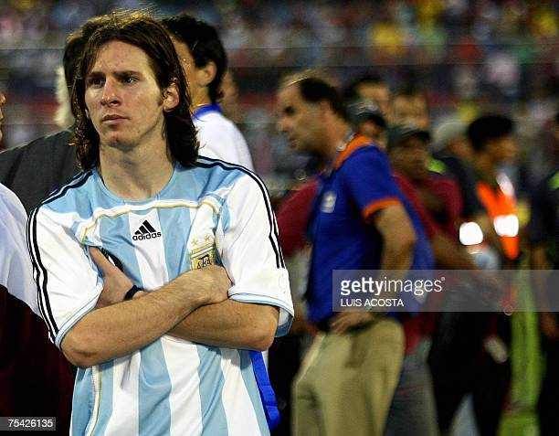 Argentina's Lionel Messi reacts in dejection after Brazil won the Copa America 2007 final match against Argentina at the Pachencho Romero stadium in...
