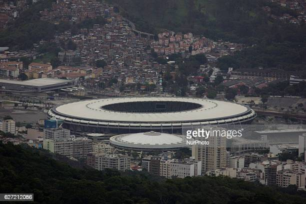 Maracana stadium used in the 2014 World Cup and 2016 Olympic Games seen from the Christ the Redeemer Natural and urban beauty top view of the city of...