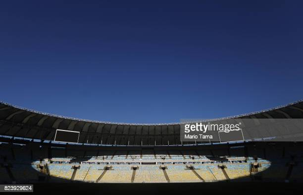 Maracana stadium which hosted the opening and closing ceremonies of the Olympics stands on July 26 2017 in Rio de Janeiro Brazil Nearly one year...