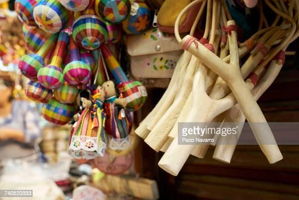 maracas and slingshots in shop in guadalajara, jalisco, mexico - jalisco fotografías e imágenes de stock