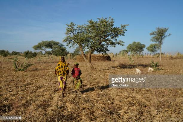 Maradi Refugee Settlement, Southern Niger. December 12, 2019. Two young refugee girls, whose families fled violence in northern Nigeria, walk across...