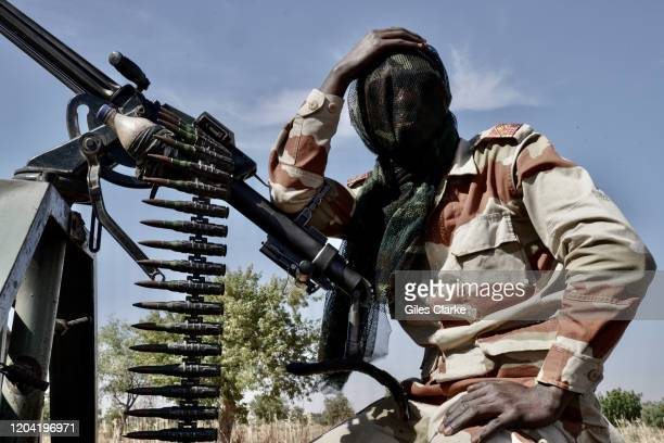 Maradi State, Niger.December 12, 2019. Niger Army soldier takes a breather during security patrol near the Nigerian border in Maradi State. The...