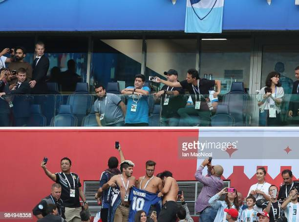 Maradona is seen during the 2018 FIFA World Cup Russia group D match between Nigeria and Argentina at Saint Petersburg Stadium on June 26 2018 in...