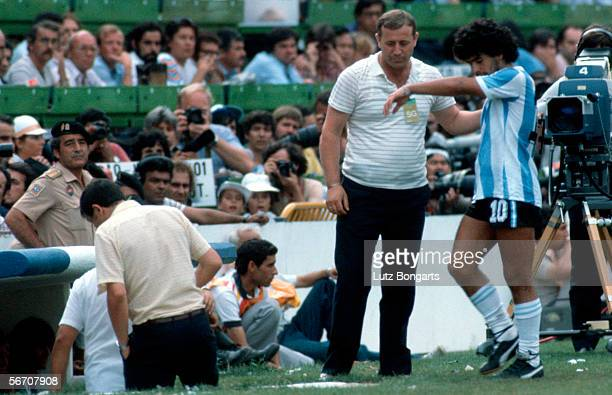 Maradona of Argentina looks dejected after being given the red card during the World Cup second final round group C match between Brazil and...