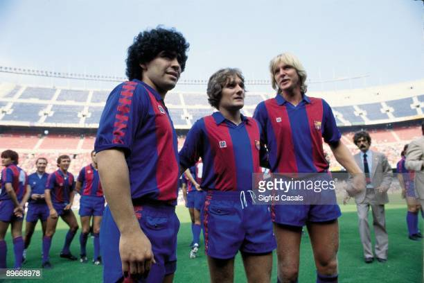 Maradona, Schuster and Archibald, presentation of the F.C BArcelona