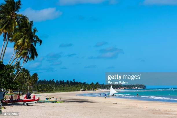 maragogi beach in state of alagoas, brazil - catamaran sailing stock photos and pictures