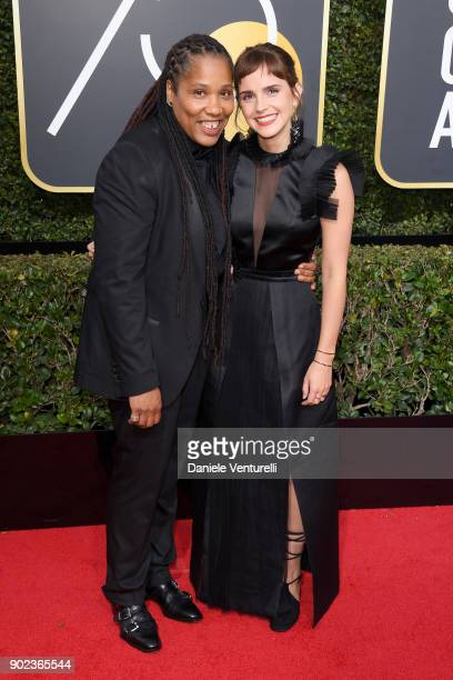 Marai Larasi and actor Emma Watson attend The 75th Annual Golden Globe Awards at The Beverly Hilton Hotel on January 7 2018 in Beverly Hills...