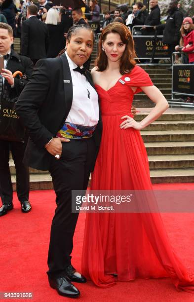Marai Larasi and Ophelia Lovibond attend The Olivier Awards with Mastercard at Royal Albert Hall on April 8 2018 in London England