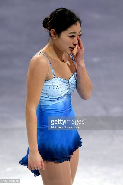 Marai Nagasu becomes emotional as she leaves the ice after skating in the Smucker's Skating Spectacular following the Prudential U.S. Figure Skating...