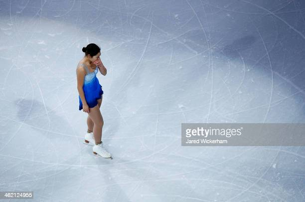 Marai Nagasu becomes emotional as she leaves the ice for the Smucker's Skating Spectacular following the Prudential US Figure Skating Championships...