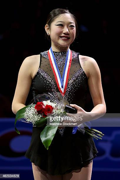 Marai Nagasu stands on the medals podium after the ladies competition at the Prudential US Figure Skating Championships at TD Garden on January 11...