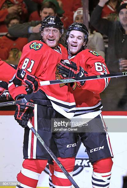 Marain Hossa and Andrew Shaw of the Chicago Blackhawks celebrate Shaw's second goal of the game in the second period against the Nashville Predators...